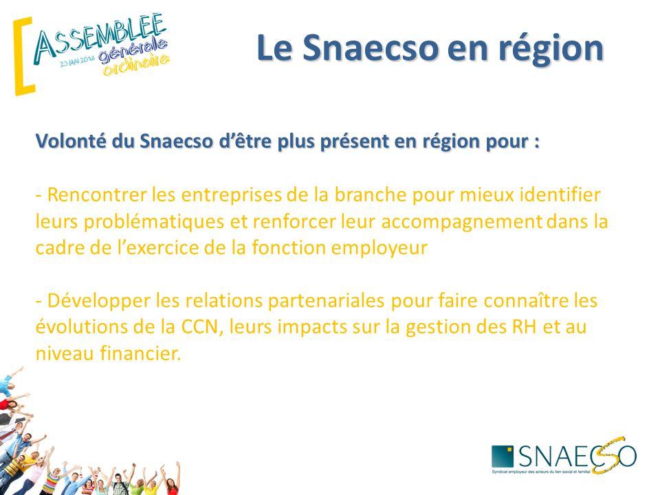 Le Snaecso en région Volonté du Snaecso d'être plus présent en région pour : Volonté du Snaecso d'être plus présent en région pour : - Rencontrer les entreprises de la branche pour mieux identifier leurs problématiques et renforcer leur accompagnement dans la cadre de l'exercice de la fonction employeur - Développer les relations partenariales pour faire connaître les évolutions de la CCN, leurs impacts sur la gestion des RH et au niveau financier.