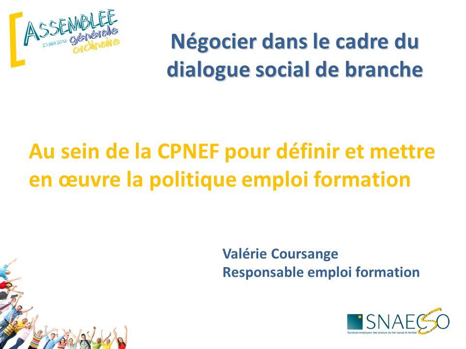 Négocier dans le cadre du dialogue social de branche Au sein de la CPNEF pour définir et mettre en œuvre la politique emploi formation Valérie Coursange Responsable emploi formation