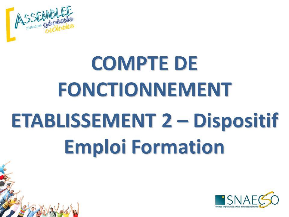 COMPTE DE FONCTIONNEMENT ETABLISSEMENT 2 – Dispositif Emploi Formation