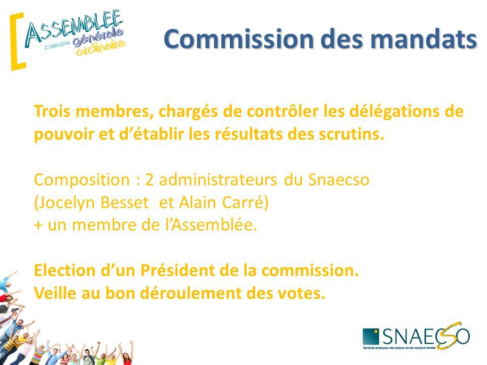 Commission des mandats Trois membres, chargés de contrôler les délégations de pouvoir et d'établir les résultats des scrutins.