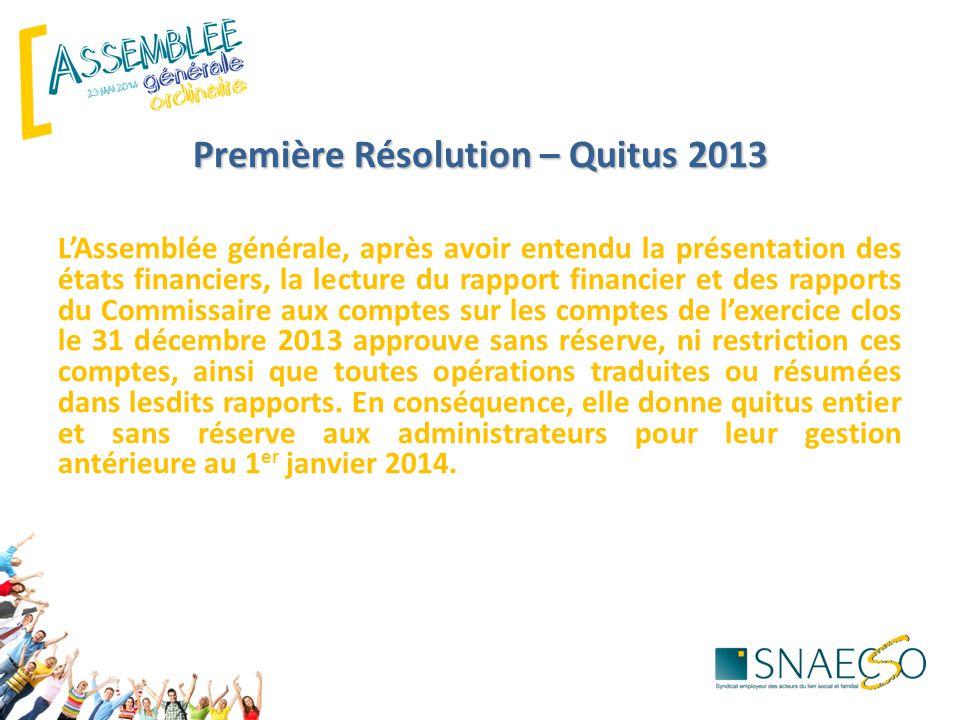 Première Résolution – Quitus 2013 L'Assemblée générale, après avoir entendu la présentation des états financiers, la lecture du rapport financier et d