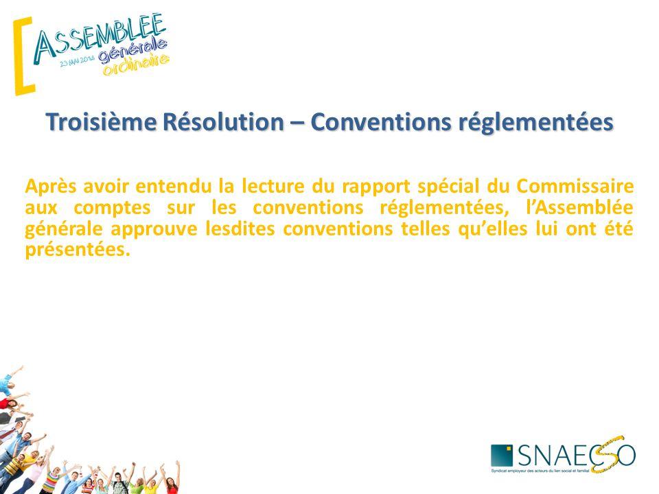 Troisième Résolution – Conventions réglementées Après avoir entendu la lecture du rapport spécial du Commissaire aux comptes sur les conventions réglementées, l'Assemblée générale approuve lesdites conventions telles qu'elles lui ont été présentées.