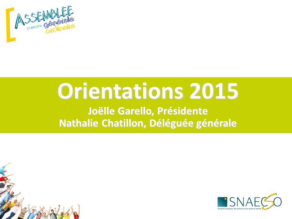 Orientations 2015 Joëlle Garello, Présidente Nathalie Chatillon, Déléguée générale