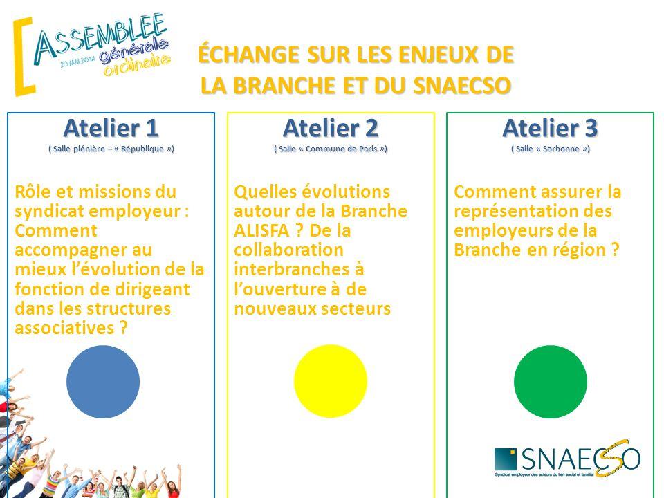 ÉCHANGE SUR LES ENJEUX DE LA BRANCHE ET DU SNAECSO Atelier 1 ( Salle plénière – « République ») Rôle et missions du syndicat employeur : Comment accom