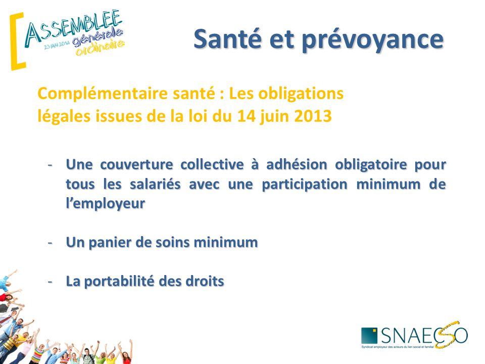 Santé et prévoyance Complémentaire santé : Les obligations légales issues de la loi du 14 juin 2013 -Une couverture collective à adhésion obligatoire