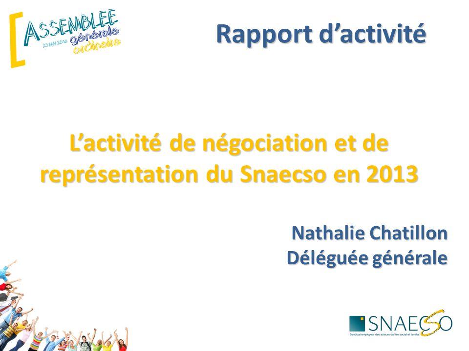 Rapport d'activité L'activité de négociation et de représentation du Snaecso en 2013 Nathalie Chatillon Déléguée générale