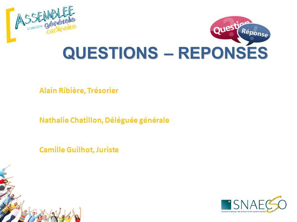ECHANGES Alain Ribière, Trésorier Nathalie Chatillon, Déléguée générale Camille Guilhot, Juriste QUESTIONS – REPONSES