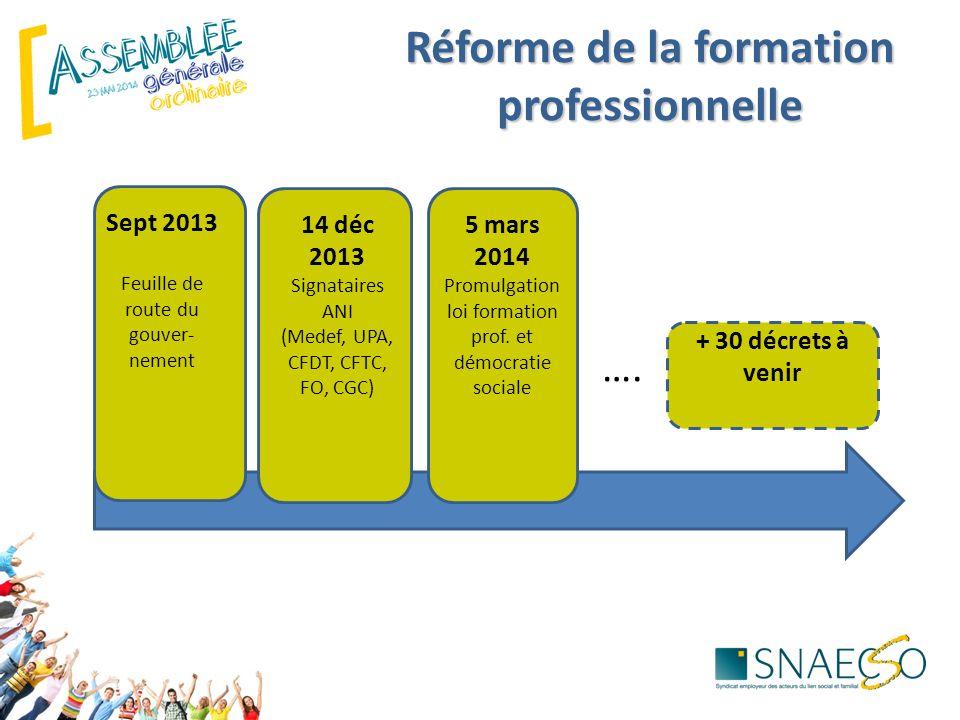 Sept 2013 Feuille de route du gouver- nement 14 déc 2013 Signataires ANI (Medef, UPA, CFDT, CFTC, FO, CGC) 5 mars 2014 Promulgation loi formation prof.