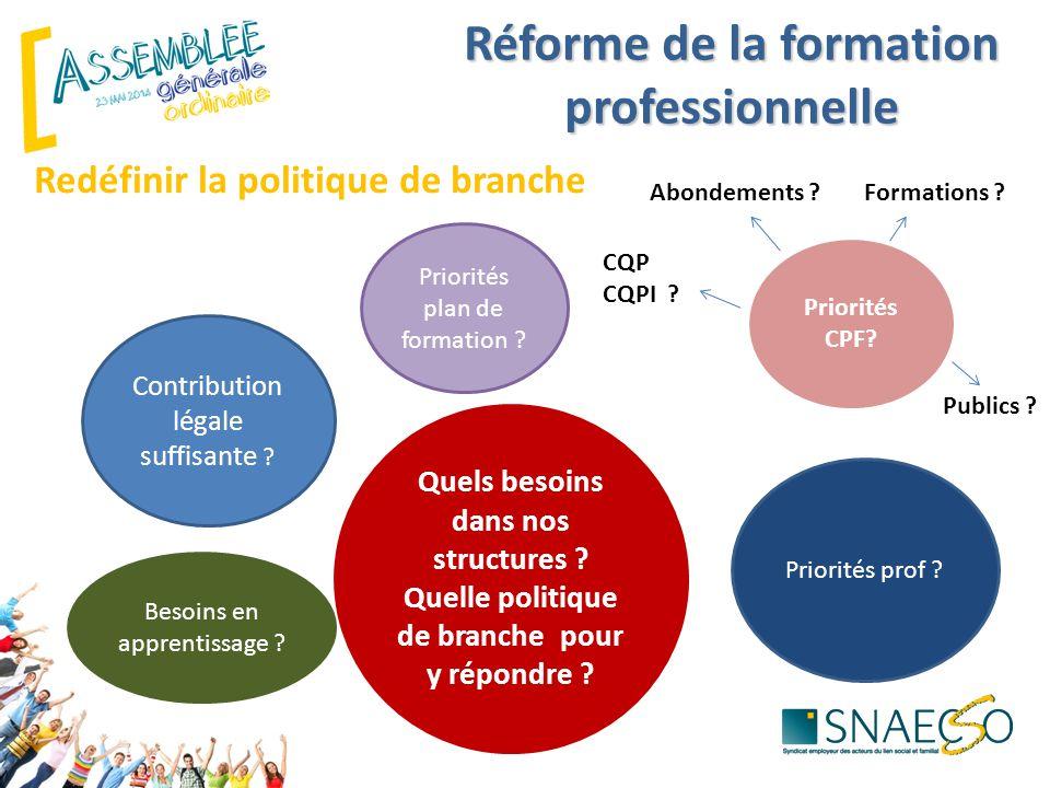 Redéfinir la politique de branche Contribution légale suffisante ? Priorités plan de formation ? Quels besoins dans nos structures ? Quelle politique