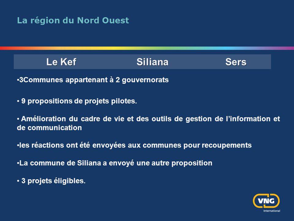 La région du Nord Ouest 3Communes appartenant à 2 gouvernorats 9 propositions de projets pilotes. Amélioration du cadre de vie et des outils de gestio