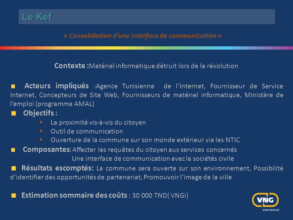 Le Kef Contexte : Matériel informatique détruit lors de la révolution Acteurs impliqués :Agence Tunisienne de l'Internet, Fournisseur de Service Inter