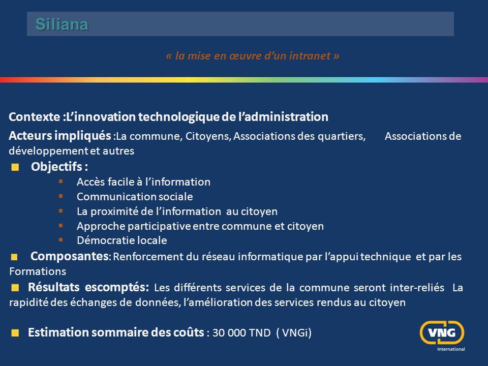 Siliana Contexte :L'innovation technologique de l'administration Acteurs impliqués :La commune, Citoyens, Associations des quartiers, Associations de