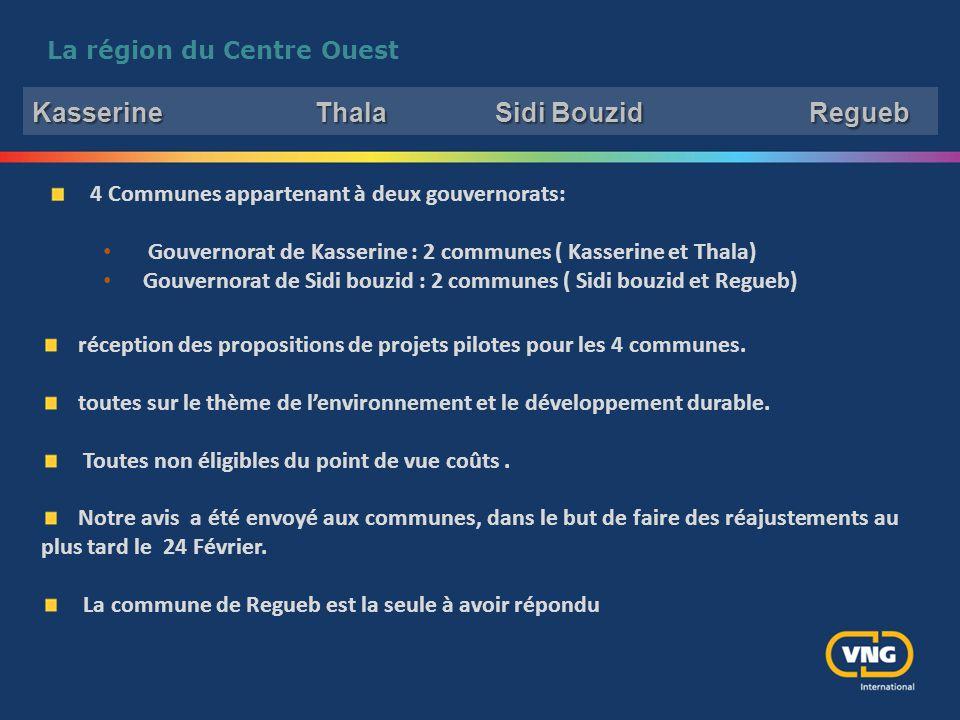 La région du Centre Ouest 4 Communes appartenant à deux gouvernorats: Gouvernorat de Kasserine : 2 communes ( Kasserine et Thala) Gouvernorat de Sidi