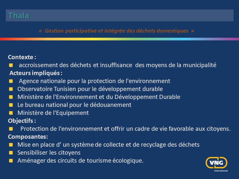 : Contexte : accroissement des déchets et insuffisance des moyens de la municipalité Acteurs impliqués : Agence nationale pour la protection de l'envi