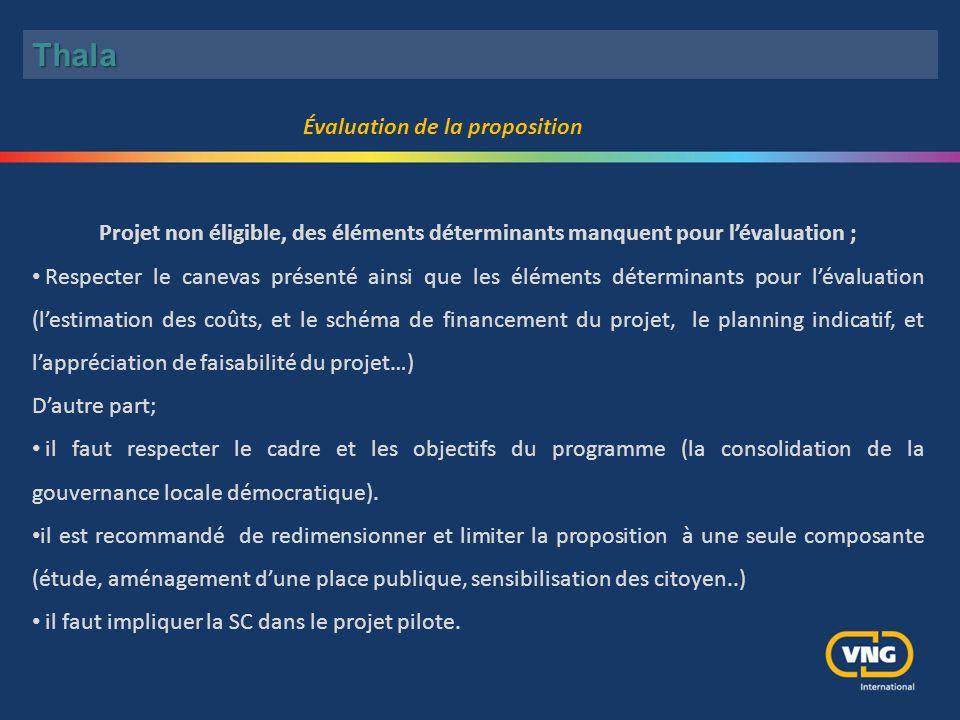 Projet non éligible, des éléments déterminants manquent pour l'évaluation ; Respecter le canevas présenté ainsi que les éléments déterminants pour l'é