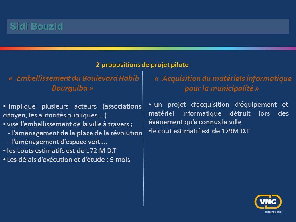 « Acquisition du matériels informatique pour la municipalité » « Embellissement du Boulevard Habib Bourguiba » implique plusieurs acteurs (association