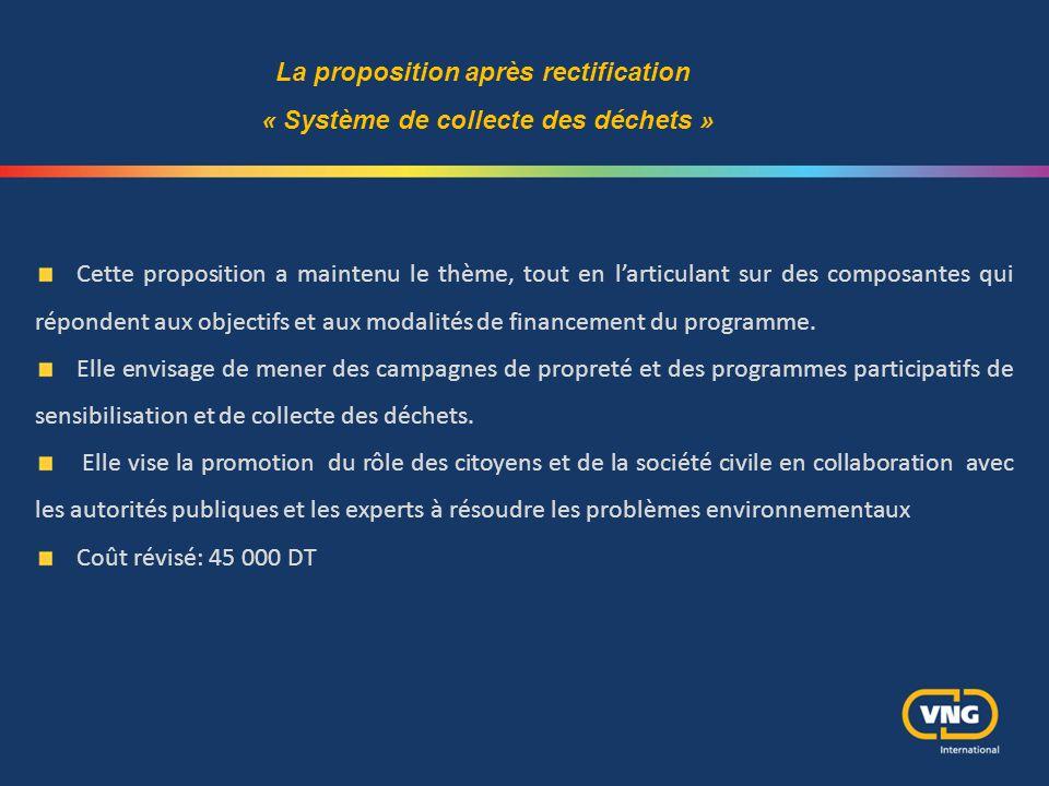 Cette proposition a maintenu le thème, tout en l'articulant sur des composantes qui répondent aux objectifs et aux modalités de financement du program