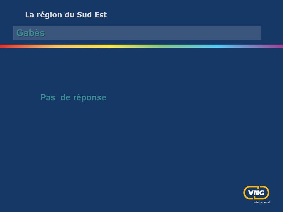 La région du Sud Est Gabès Pas de réponse