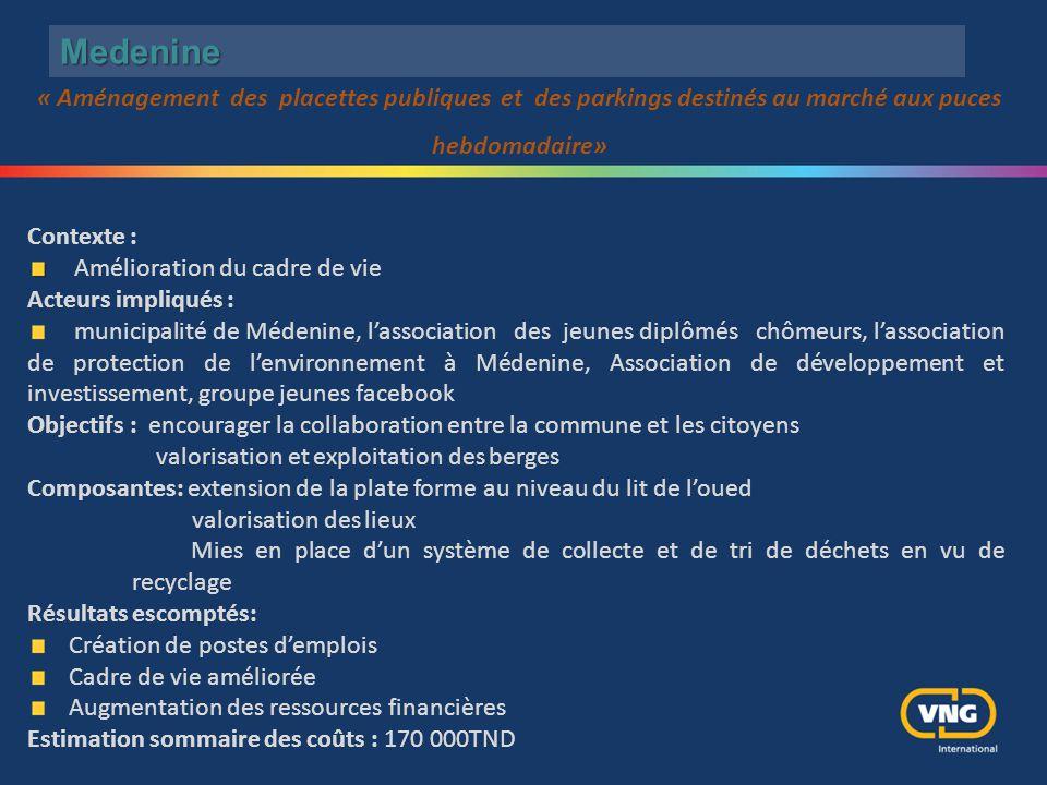 Medenine Contexte : Amélioration du cadre de vie Acteurs impliqués : municipalité de Médenine, l'association des jeunes diplômés chômeurs, l'associati