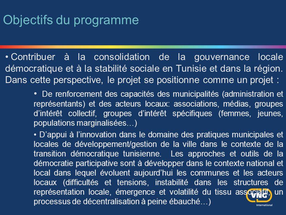 Contribuer à la consolidation de la gouvernance locale démocratique et à la stabilité sociale en Tunisie et dans la région. Dans cette perspective, le