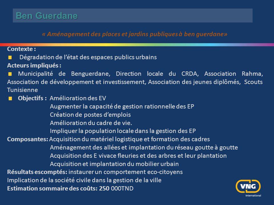 Ben Guerdane Contexte : Dégradation de l'état des espaces publics urbains Acteurs impliqués : Municipalité de Benguerdane, Direction locale du CRDA, A