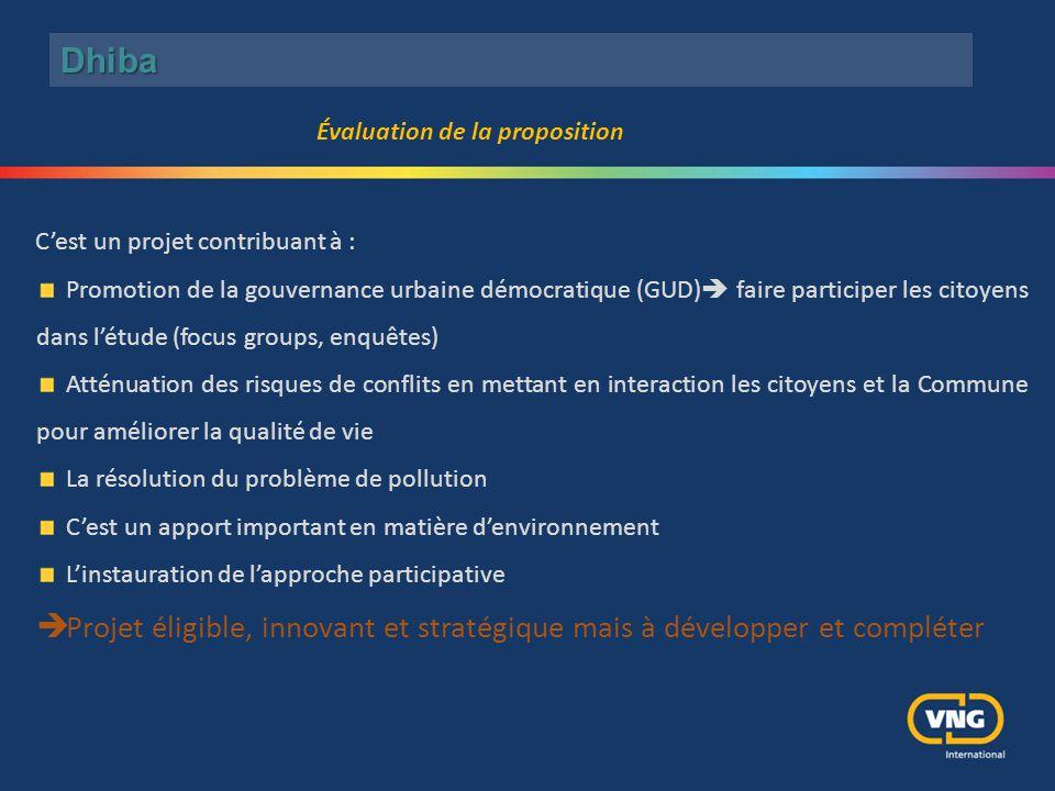 C'est un projet contribuant à : Promotion de la gouvernance urbaine démocratique (GUD)  faire participer les citoyens dans l'étude (focus groups, enq