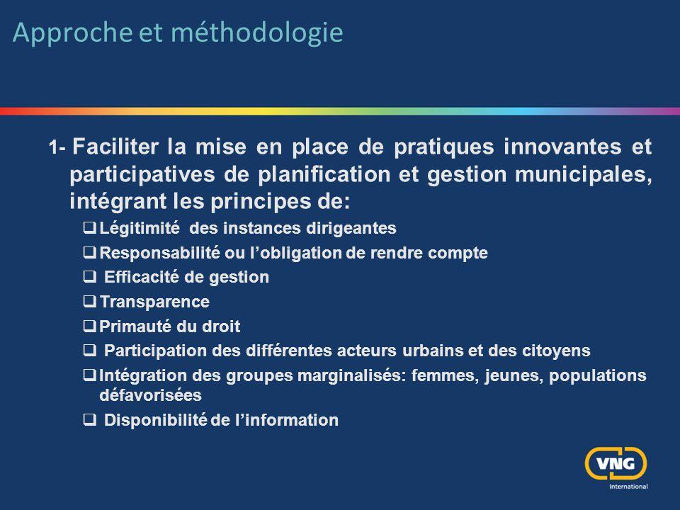 Approche et méthodologie 1- Faciliter la mise en place de pratiques innovantes et participatives de planification et gestion municipales, intégrant le