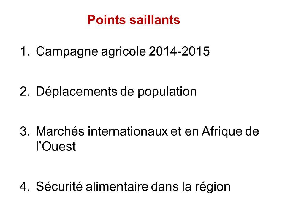 Points saillants 1.Campagne agricole 2014-2015 2.Déplacements de population 3.Marchés internationaux et en Afrique de l'Ouest 4.Sécurité alimentaire d