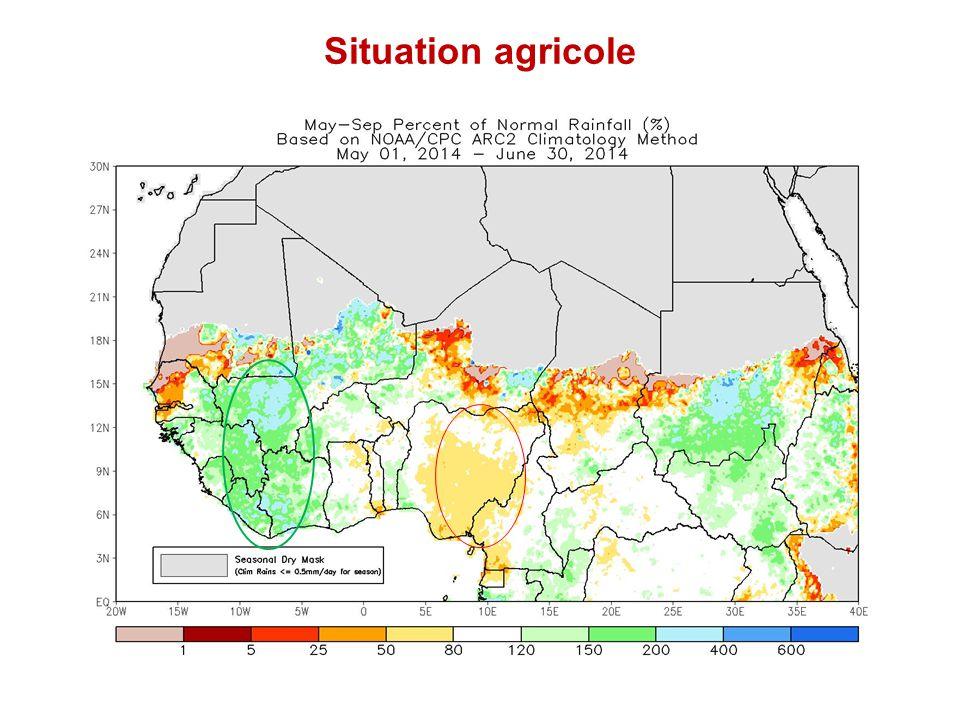 En bref: Autres évaluations ou analyses en cours C.A.R, IPC, avril 2014: Rapport disponible http://www.ipcinfo.org/fileadmin/user_upload/ipcinfo/docs/1_IPC_Alert_CAR _May2014.pdf http://www.ipcinfo.org/fileadmin/user_upload/ipcinfo/docs/1_IPC_Alert_CAR _May2014.pdf Cameroun: enquête rapide sur la sécurité alimentaire: collecte de données en cours Gambie: enquête qualitative de la sécurité alimentaire; MoA, PAM, FAO juin, rapport en cours Ghana: évaluation rapide de l'impact de la crise économique et de la hausse des prix sur les ménages; analyse en cours; Guinée : Mission pluridisciplinaire de suivi de la sécurité alimentaire; partie terrain finalisée, analyse et rapport en cours Mauritanie: Mission Inter-Agences dans le camp de Mbera: rapport en cours Nigeria: Mission Inter-Agences au Nord Est du Nigéria, mai 2014: rapport en cours Projet régional HEA: outcome analysis en cours