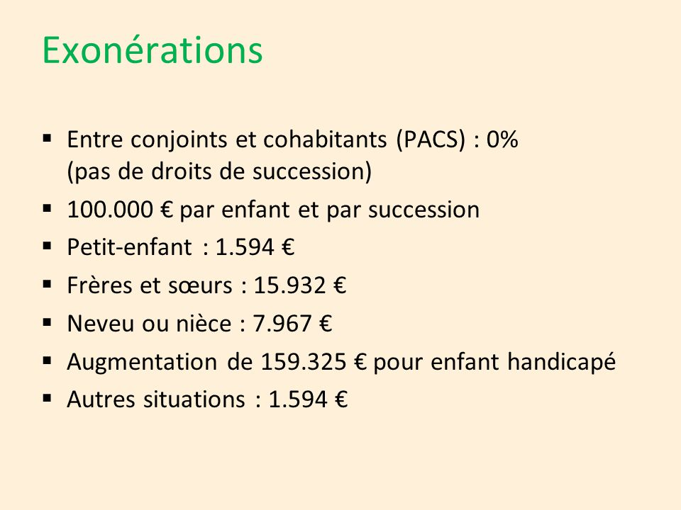Exonérations  Entre conjoints et cohabitants (PACS) : 0% (pas de droits de succession)  100.000 € par enfant et par succession  Petit-enfant : 1.59