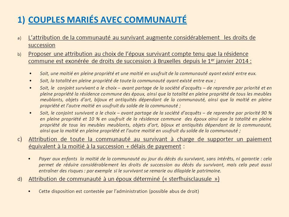 1)COUPLES MARIÉS AVEC COMMUNAUTÉ a)L'attribution de la communauté au survivant augmente considérablement les droits de succession b)Proposer une attri