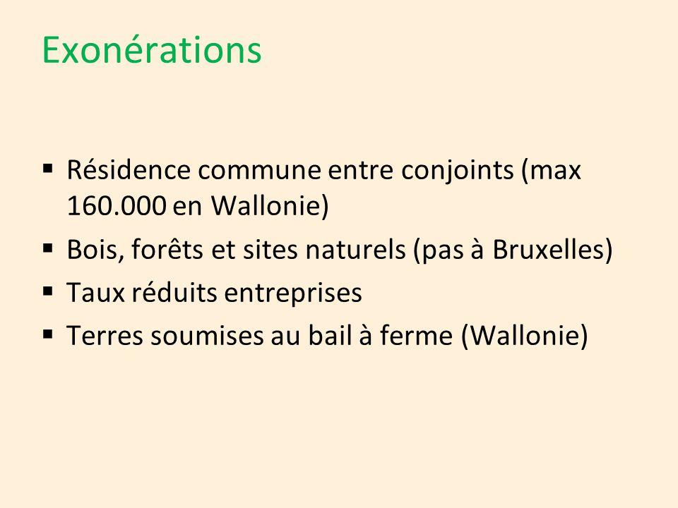 Exonérations  Résidence commune entre conjoints (max 160.000 en Wallonie)  Bois, forêts et sites naturels (pas à Bruxelles)  Taux réduits entrepris