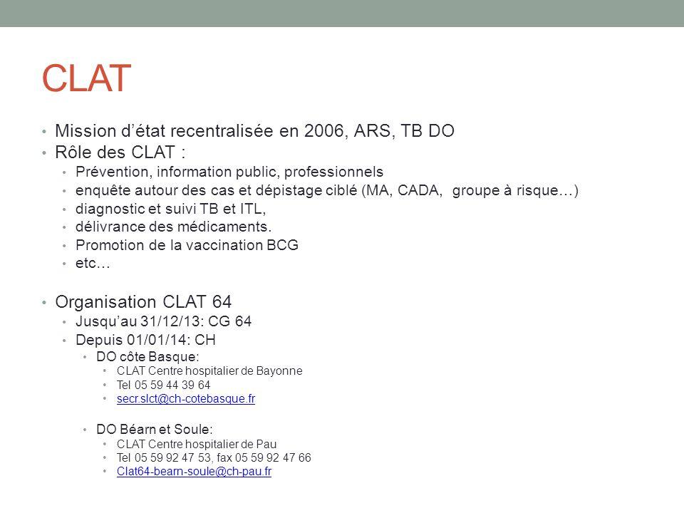 CLAT Mission d'état recentralisée en 2006, ARS, TB DO Rôle des CLAT : Prévention, information public, professionnels enquête autour des cas et dépista