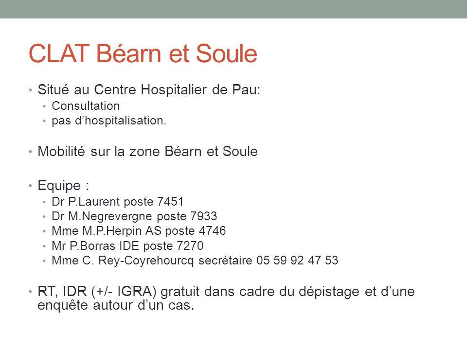 CLAT Béarn et Soule Situé au Centre Hospitalier de Pau: Consultation pas d'hospitalisation. Mobilité sur la zone Béarn et Soule Equipe : Dr P.Laurent