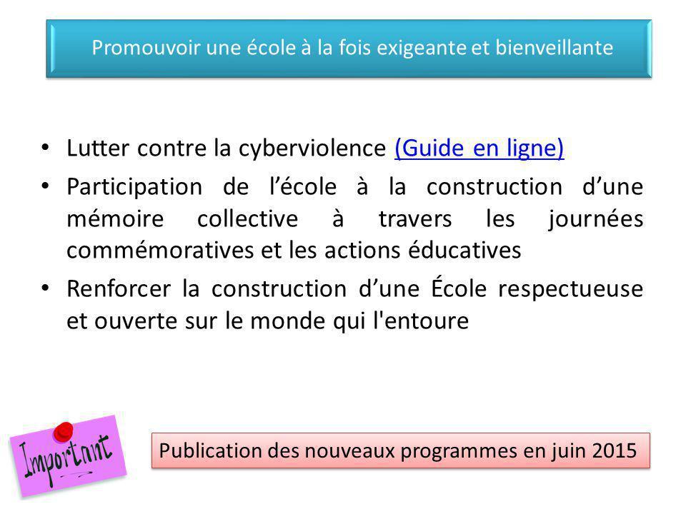 Lutter contre la cyberviolence (Guide en ligne)(Guide en ligne) Participation de l'école à la construction d'une mémoire collective à travers les jour