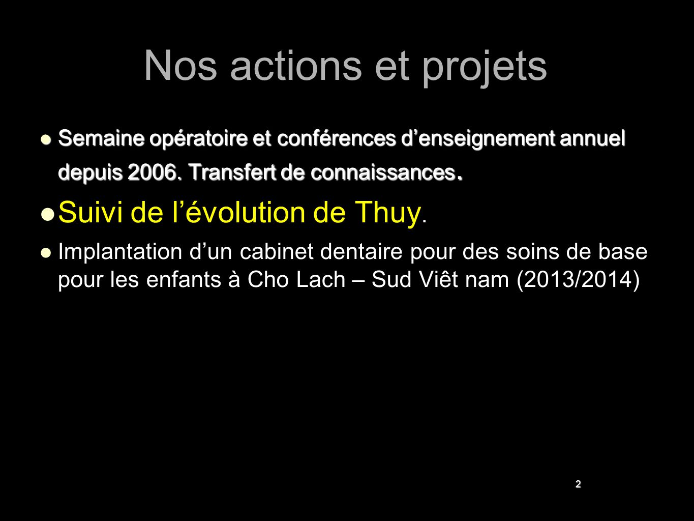 2 Nos actions et projets Semaine opératoire et conférences d'enseignement annuel depuis 2006. Transfert de connaissances. Semaine opératoire et confér