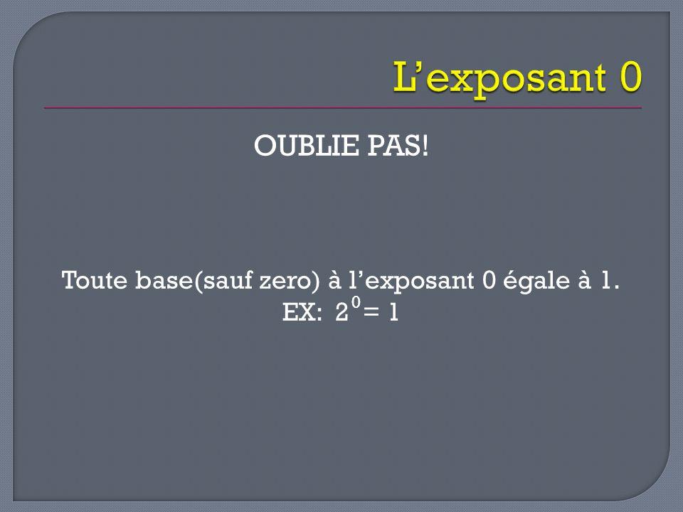 OUBLIE PAS! Toute base(sauf zero) à l'exposant 0 égale à 1. EX: 2 = 1 0