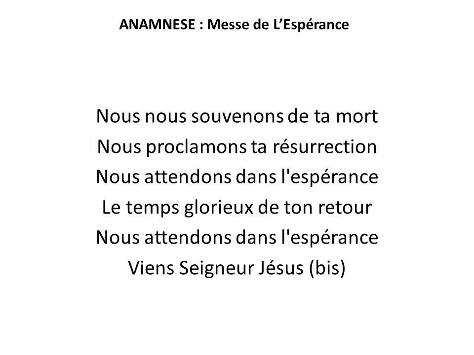 ANAMNESE : Messe de L'Espérance Nous nous souvenons de ta mort Nous proclamons ta résurrection Nous attendons dans l'espérance Le temps glorieux de to