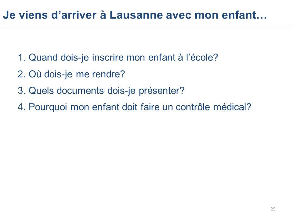 Je viens d'arriver à Lausanne avec mon enfant… 1.Quand dois-je inscrire mon enfant à l'école.
