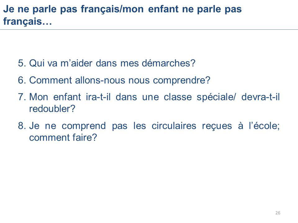 Je ne parle pas français/mon enfant ne parle pas français… 5.Qui va m'aider dans mes démarches.