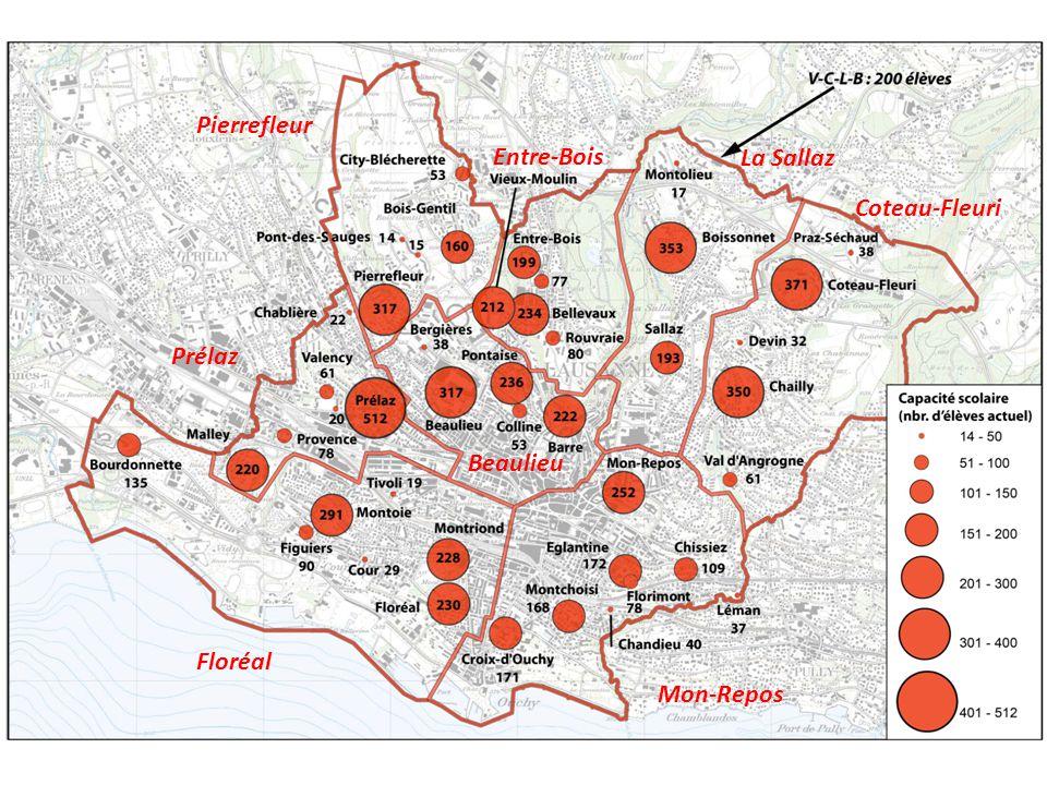Carte des futurs établissement (document provisoire, version du 13 mai 2014) Prélaz Floréal Mon-Repos Coteau-Fleuri Pierrefleur Entre-Bois La Sallaz Beaulieu
