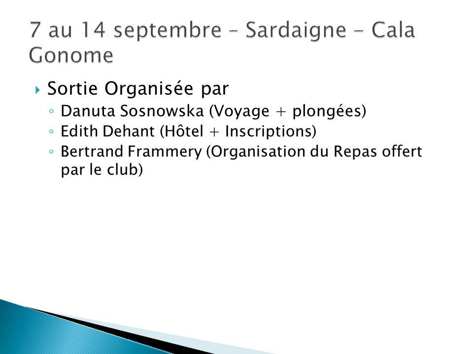  Sortie Organisée par ◦ Danuta Sosnowska (Voyage + plongées) ◦ Edith Dehant (Hôtel + Inscriptions) ◦ Bertrand Frammery (Organisation du Repas offert par le club)