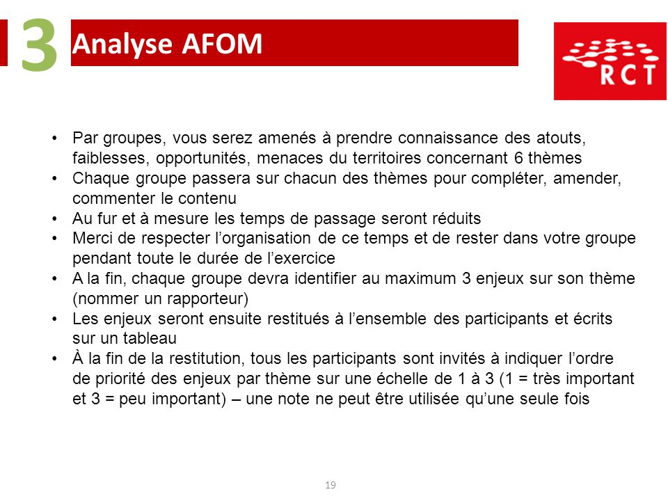 Analyse AFOM 3 19 Par groupes, vous serez amenés à prendre connaissance des atouts, faiblesses, opportunités, menaces du territoires concernant 6 thèm