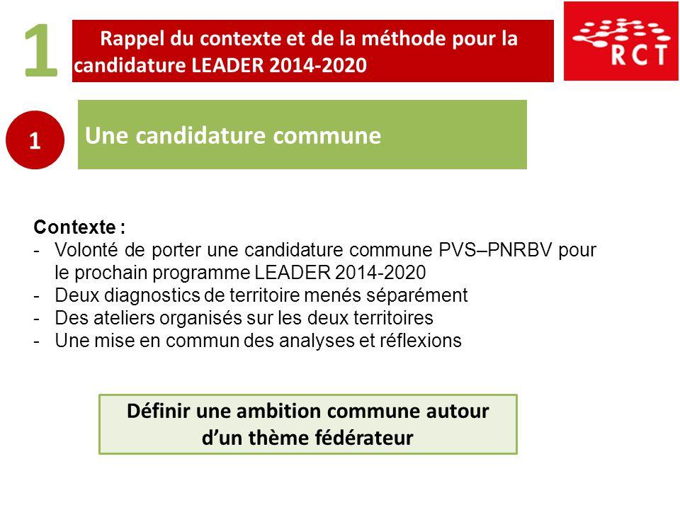 1 Une candidature commune 1 Contexte : -Volonté de porter une candidature commune PVS–PNRBV pour le prochain programme LEADER 2014-2020 -Deux diagnost