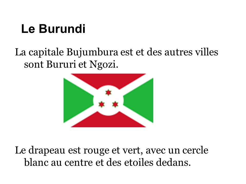 Le Burundi La capitale Bujumbura est et des autres villes sont Bururi et Ngozi. Le drapeau est rouge et vert, avec un cercle blanc au centre et des et