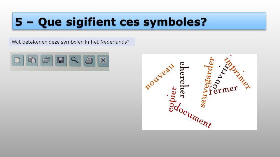 5 – Que sigifient ces symboles? Wat betekenen deze symbolen in het Nederlands?