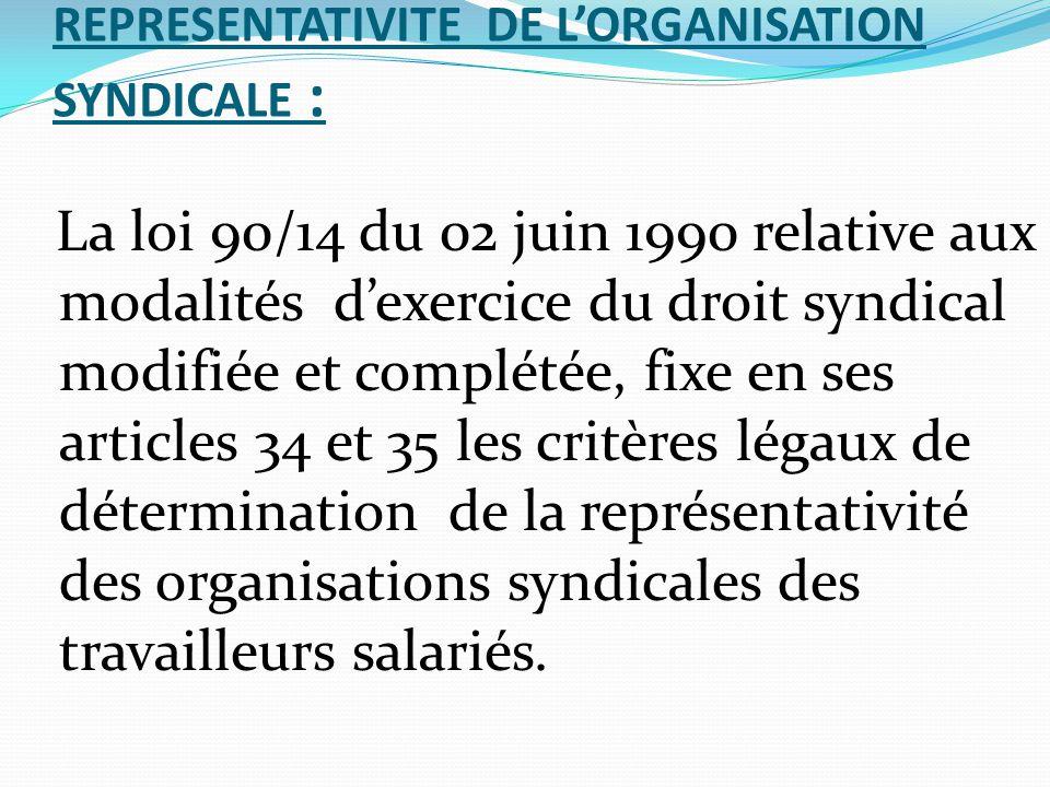 REPRESENTATIVITE DE L'ORGANISATION SYNDICALE : La loi 90/14 du 02 juin 1990 relative aux modalités d'exercice du droit syndical modifiée et complétée,