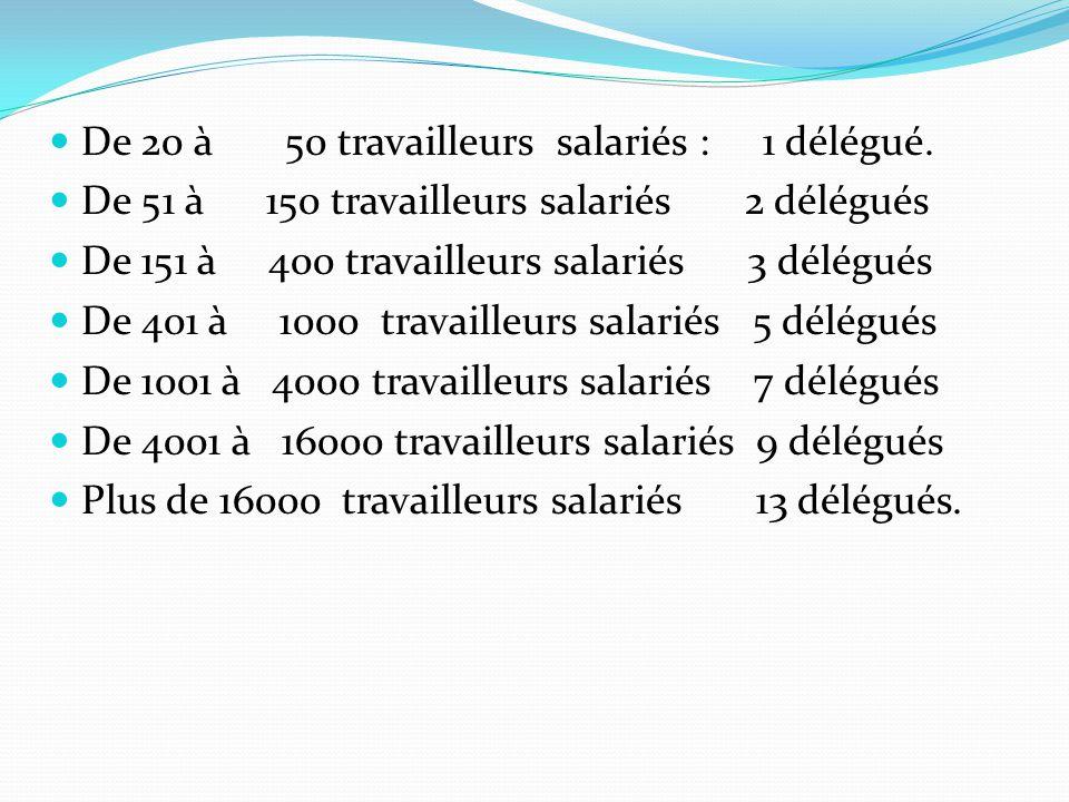 De 20 à 50 travailleurs salariés : 1 délégué. De 51 à 150 travailleurs salariés 2 délégués De 151 à 400 travailleurs salariés 3 délégués De 401 à 1000
