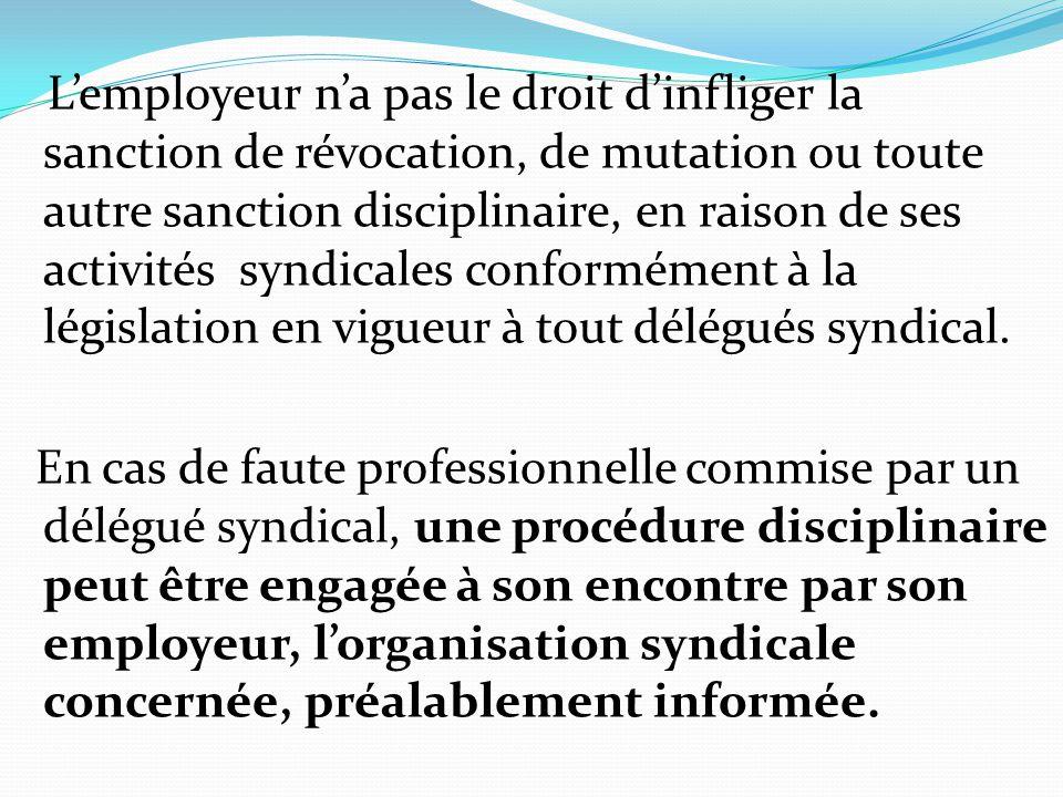 L'employeur n'a pas le droit d'infliger la sanction de révocation, de mutation ou toute autre sanction disciplinaire, en raison de ses activités syndi