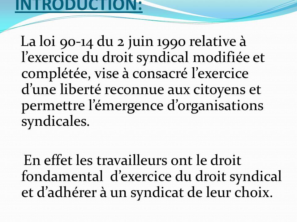 INTRODUCTION: La loi 90-14 du 2 juin 1990 relative à l'exercice du droit syndical modifiée et complétée, vise à consacré l'exercice d'une liberté reco